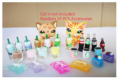 Random 10 Lot Littlest Pet Shop LPS Accessories Cups & Drinks Very Cute And Rare