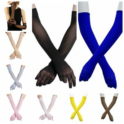 Women's Mesh Stretchy Long Gloves Mittens Gothic Steampunk Ultra Thin Arm Sleeve