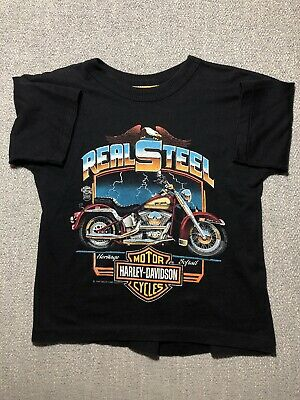 VINTAGE Youth Harley Davidson Real Steel Sz 14-16 80's Black T Shirt
