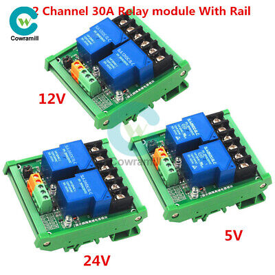 2 Channel 30A DC 5/12/24V Relay Module Optocoupler Isolation High Low Trigger