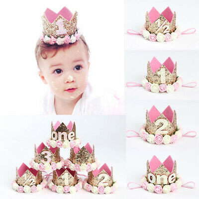 1-3Y Birthday Party Hat Decor Hair Accessory Baby Girl Flower Princess Crown NEW