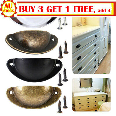 12X Kitchen Cupboard Door Cabinet Cup Drawer Bronz M Shell Pull Handle Furniture