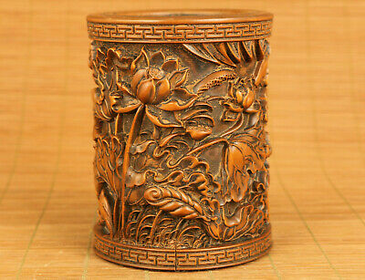 chinese old boxwood hand carved lotus flower fish lucky brush pot / vase