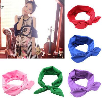 Women Girls Cute Bow Knotted Hairband Elastic Turban Rabbit Accessories Headband
