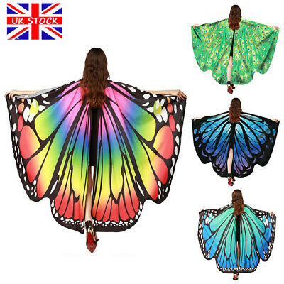 Butterfly Wings Cape Shawl Adult Fairy Pixie Cloak Costume Fancy Dress Party UK