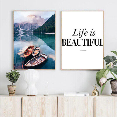 Nordic Style Scandinavian Lake Boat Nature Canvas Poster Wall Art Painting