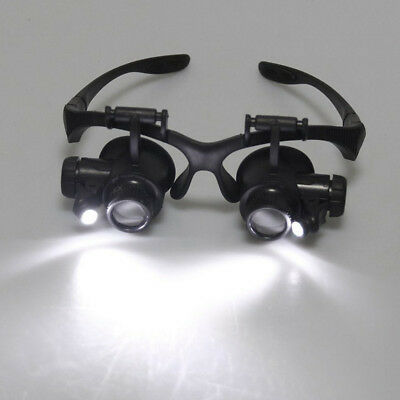 8 Lens Magnifier Magnifying Eye Glass Jeweler Watch Repair Loupe W/ LED Light
