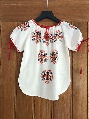 Vintage Childs Hungarian Romanian Embroidered Peasant Blouse