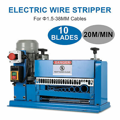 10 Blades Electric Wire Stripping Machine 1.5~38mm Cable Stripper Copper Recycle