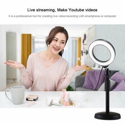 Round Base Desktop Mount + 4.6 Inch Usb Dimmable Led Ring Vlogging Video Light B