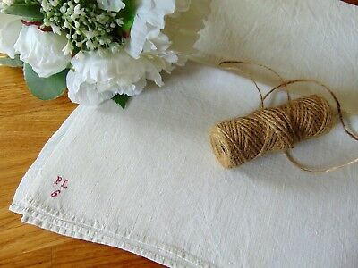 "Antique French Farmhouse Linen Red Hand Stitched Monogram ""Plg"" Tablecloth"