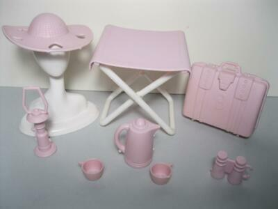 1:6 Scale Barbie Doll Sz Picnic Camping PINK Matching STOOL SUN HAT SUITCASE LOT