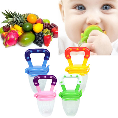 Baby Kid Vegetable Fruit Supplement Feeder Teething Toy Ring Chewable Soother ED