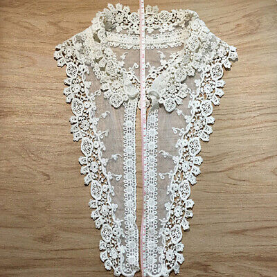 DIY Lace Embroidered Flower Neckline Collar Trim Clothes Sewing Applique Patch