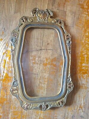 Vtg Antique ornate wood gold carved Gesso Picture Frame w Convex Bubble Glass