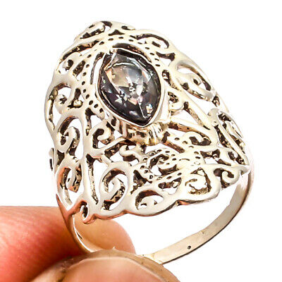 Carved Bone Face Gold Plated Ring 925 Silver Plated  Jewelry Sz6.75