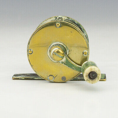 Antique Victorian Brass - Small Fishing Angling Reel - Unusual!
