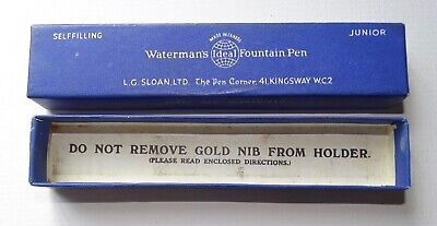 Vintage Watermans Ideal Fountain Pen Box Only for Self Filling Junior