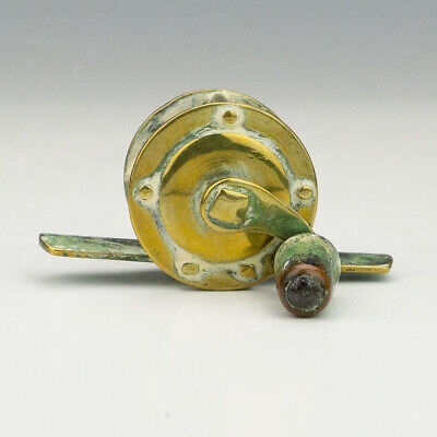 Antique Victorian Brass - Small Fishing Angling Reel - Interesting!