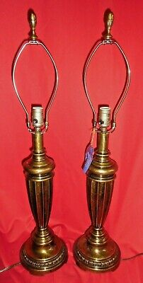 Pair Of Quoizel Antique Patina Brass Finish Table Lamps - Style No. QM4027MPTN