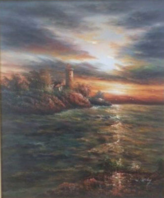 LMOP517 charmed ocean landscape seascape hand painted art oil painting on canvas