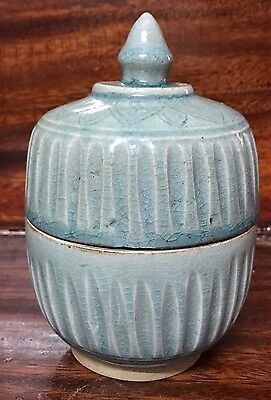 Antique Thai Sawankhalok  Stoneware  Celadon  Covered  Bowl Longquan