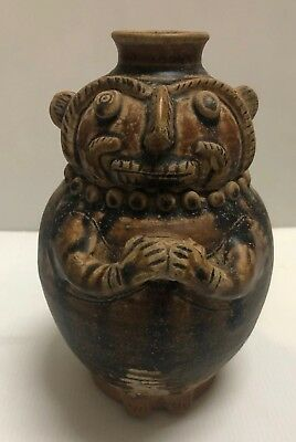 ANTIQUE  THAI 17thc SUKHOTHAI BROWN CELADON   STONEWARE  FACE POT  VASE