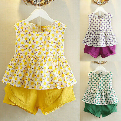 2PCS Set Toddler Kids Baby Girls Outfits Clothes T-shirt Vest Tops Shorts Pants