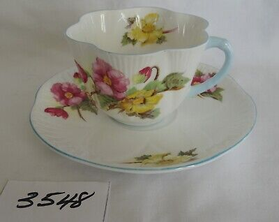 SHELLEY fine bone china Dainty Cup & Saucer pink & yellow floral blue trim