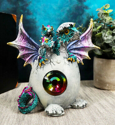 Metronome Crystal Purple Blue Hydra Dragon Hatchling Breaking Out Of Egg Statue