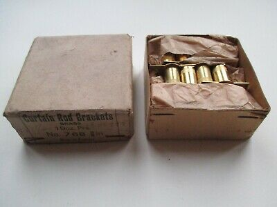 "Box of Vintage 3/8"" Brass Curtain Rod Brackets Screw Barrell - Made In England"