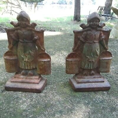 rare antique late 1800's solid cast iron farm girl heavy Cast Matching Book Ends
