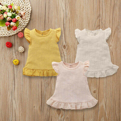 Toddler Child Kids Girls Summer Sleeveless Casual Tops Solid Blouse Clothes