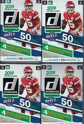 (4) 2019 Panini DONRUSS Football NFL Trading Cards 50c HANGER BOX LOT=200 Cards
