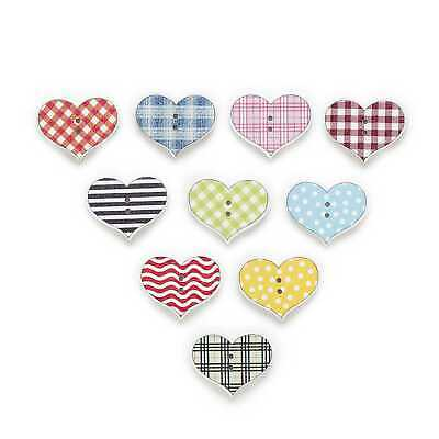 50pcs Heart Wood Buttons for Handmade Sewing Cloth Scrapbooking Home Decor 25mm