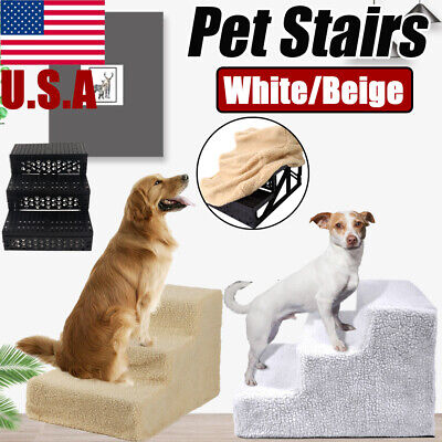 Pet Stairs 3 Steps Ramp Climb Cat Dog Ladder for Puppy Toy Bed Sofa Play w/Cover