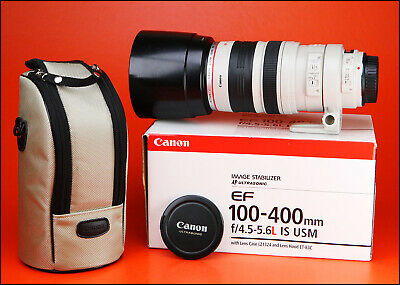 Canon EF 100-400mm F4.5-5.6 L IS USM Zoom Lens. With Both Caps, Hood, Case & Box
