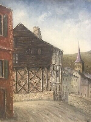 Jean Fourie (1927-2015) Large French Modernist Oil On Canvas - Old Town & Church