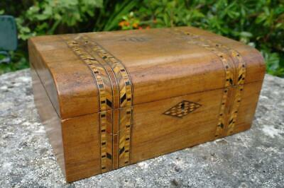 Antique Victorian Tunbridge Ware Marquetry Inlay Walnut Box (empty) c.1860's tlc