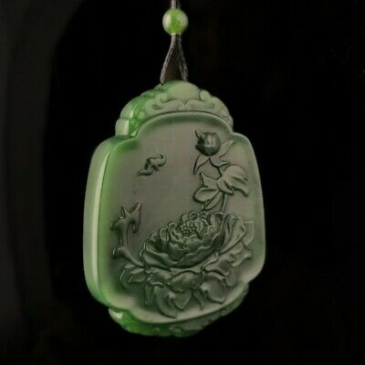 Genuine Natural Green Nephrite Jade Lotus Flower Carving Pendant Necklace