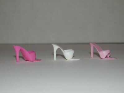 Vintage Barbie Superstar Philippines Taiwan Lot Shoes Mules Open Toe Pink White