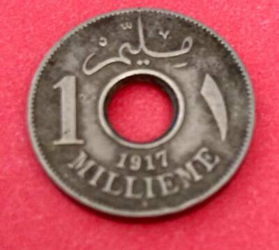 Egyptian coin 1 Millieme of Sultan Kamel dated 1917 (102) years old.