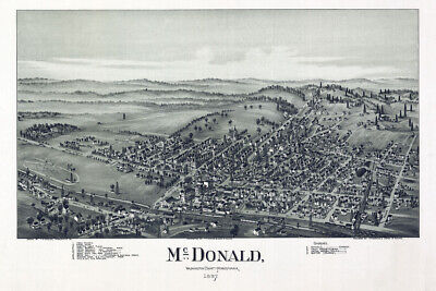 1897 Aerial Map of McDonald Washington County Pa & Oil Wells