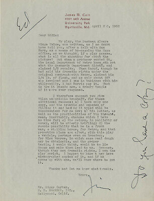 Jim Cain 1952 Typed Letter Signed - Great Hollywood & Marilyn Monroe Content