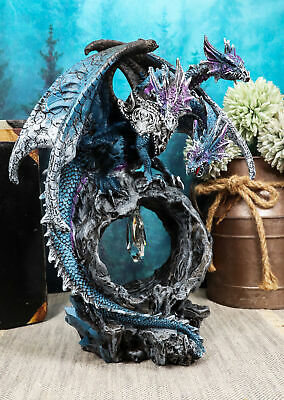 "3 Headed Midnight Blue Purple Hydra Dragon Protecting Crystal Statue 9.75"" Tall"