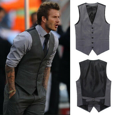 Mens Business Suit Wedding Dress Vest Slim Tuxedo Waistcoat Jacket Formal Wear