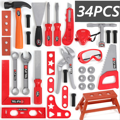 34Pcs Set Children Kids Drill Tool Set DIY Builders Building Construction Toy UK