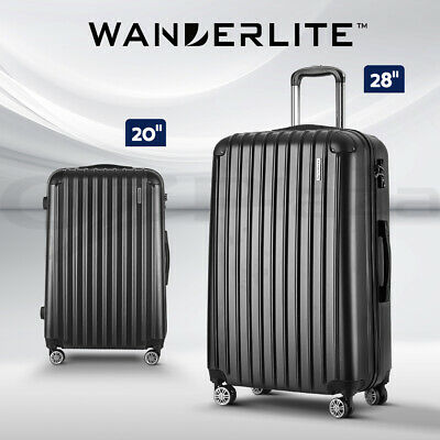 Wanderlite 2PCS Carry On Luggage Sets Suitcase Travel Hard Case Lightweight