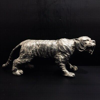 Antique Bronze Tiger Statue Figure China Khmer Buddhism Collectible Sculpture