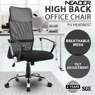 Executive High Back Mesh Office Chair Computer Work Armchair Tilt Adjustment BK